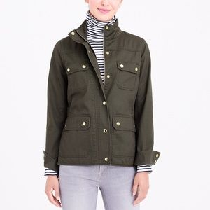 J.Crew Resin-Coated Twill Jacket in Mossy Brown S